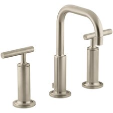 Purist Widespread Lavatory Faucet with Low Gooseneck Spout and High Lever Handles