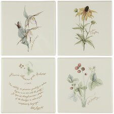 Prairie Flowers Decorative Field Tile, Six Floral and Two Quotation Tiles (Set of 6)