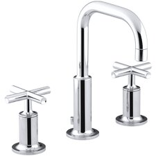 Purist Widespread Lavatory Faucet with Low Gooseneck Spout and Low Cross Handles