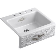 "Tidings with Game Birds Design On Alcott 25"" X 22"" X 8-5/8"" Tile-In Kitchen Sink with 4 Faucet Holes"