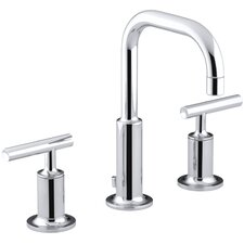 Purist Widespread Lavatory Faucet with Low Gooseneck Spout and Low Lever Handles