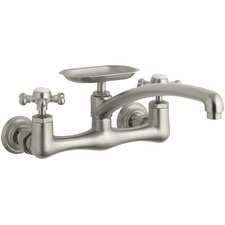 "Antique Wall-Mount Sink Faucet with 12"" Spout and Six-Prong Handles"