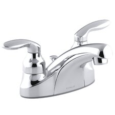 Coralais Centerset Lavatory Faucet with Lever Handles, Pop-Up Drain and Lift Rod