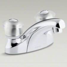 Coralais Centerset Lavatory Faucet with Grid Drain and Sculptured Acrylic Handles
