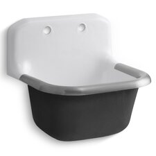 "Bannon Service Sink with Rim Guard and Back Drilled On 8"" Centers, 24"" X 20-1/4"""