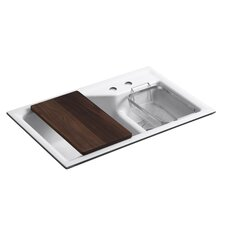 """Indio 33"""" x 21"""" Under-Mount Smart Divide Large/Small Double-Bowl Kitchen Sink with 2 Faucet Holes"""