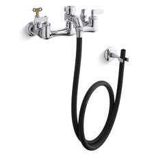 Service Sink Faucet with Loose-Key Stops, Rubber Hose, Wall Hook and Lever Handles