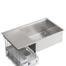 "Stages 33"" x 18.5"" Under-Mount Single-Bowl with Wet Surface Area Kitchen Sink"