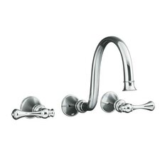 """Revival Wall-Mount Lavatory Faucet Trim with Traditional Lever Handles and 9"""" Spout, Valve Not Included"""