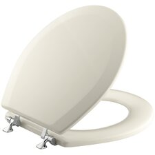 Triko Molded Toilet Seat, Round, Closed-Front with Cover and Polished Chrome Hinges