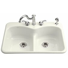 "Langlade 39"" x 22"" 3 Hole Top-Mount Smart Divide Double-Equal Kitchen Sink"