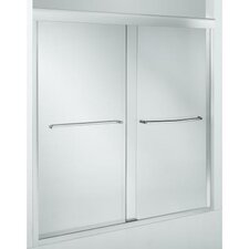 "Fluence Sliding Bath Door, 58-5/16"" H X 56-5/8 - 59-5/8"" W, with 3/8"" Thick Crystal Clear Glass"