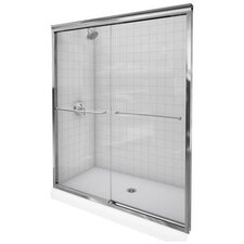 "Fluence 47.63"" W x 70.31"" H Sliding Shower Door with 0.375"" Crystal Clear Glass"