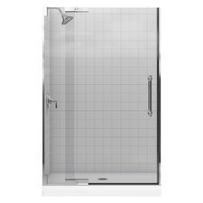 "Pinstripe Pivot Shower Door, 72-1/4"" H X 45-1/4 - 47-3/4"" W, with 3/8"" Thick Crystal Clear Glass"