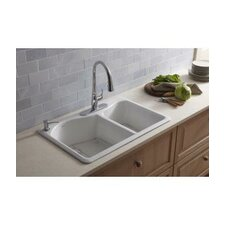 "Lawnfield 33"" X 22"" X 9-5/8"" Top-Mount Large/Medium Double-Bowl Kitchen Sink with 4 Faucet Holes"