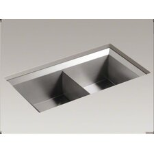 "<strong>Kohler</strong> Poise 33"" X 18"" X 9-1/2"" Under-Mount Double-Equal Bowl Kitchen Sink"