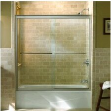 "Fluence Sliding Bath Door, 63"" H X 49 - 52"" W, with 1/4"" Thick Crystal Clear Glass"