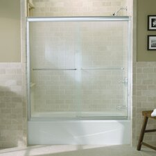 "Fluence Sliding Bath Door, 58-5/16"" H X 56-5/8 - 59-5/8"" W, with 1/4"" Thick Falling Lines Glass"