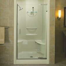"Purist 39"" - 42"" W x 72"" H Pivot Shower Door with 0.25"" Crystal Clear Glass"
