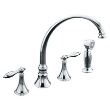 "Revival Kitchen Faucet with 11-13/16"" Spout, Sidespray and Traditional Lever Handles"