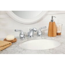 <strong>Moen</strong> Monticello Inspirations Widespread Low Arc Bathroom Faucet with Double Lever Handles