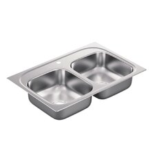 """2200 Series 33"""" x 22"""" Double Bowl Drop in Kitchen Sink"""