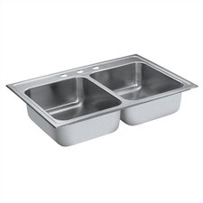 "Camelot 33"" x 22"" Equal Double Bowl Drop-In Kitchen Sink"