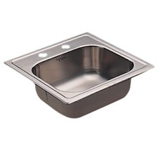 "Commercial 15"" x 15"" Single Bowl Kitchen Sink with Two Holes"