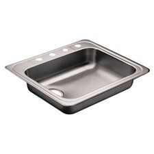 "Commercial 25"" x 22"" Single Bowl Kitchen Sink with Four Holes"