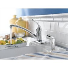 <strong>Moen</strong> Chateau Single Handle Centerset Kitchen Faucet with Protege Side Spray
