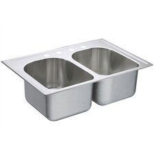 "Lancelot 33"" x 22"" Equal Double Bowl Deep Drop-In Kitchen Sink"