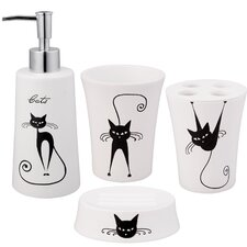 Cats 4 Piece Bath Accessory Set