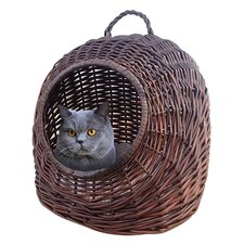 Round Wicker Cat Bed with Carrying Handle
