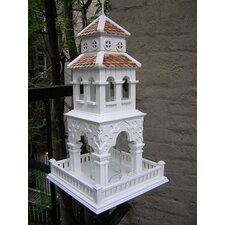 Pagoda Tower Bird Feeder in Victorian White