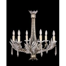 Winter Palace Six Light Chandelier in Antique Silver