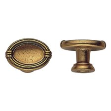 Louis XVI Brass Oval Knob in Dark Antique Brass