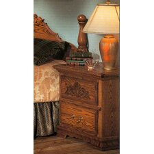 Country Heirloom 2 Drawer Nightstand with Carving