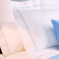 <strong>Caravelle</strong> Sateen Embroidered 400 Thread Count Pilllow Case in Blue Double Stripe