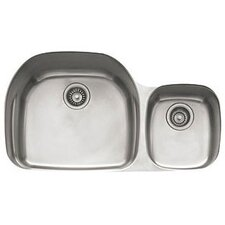 "Prestige 35.63"" x 14.94 - 20.44"" Double Bowl Kitchen Sink"