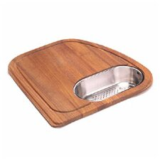 Vision Wood Cutting Board with Stainless Steel Colander in Teak