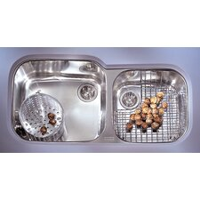 "Professional 38.75"" x 17.38"" - 19.25"" Double Bowl Kitchen Sink"