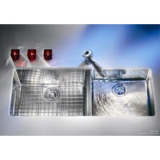 "Kubus 42.94"" x 17.94"" Double Bowl Kitchen Sink"