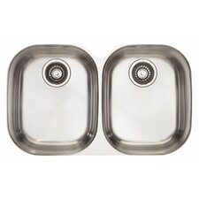 "29.13"" x 18.5"" Compact Double Bowl Kitchen Sink"