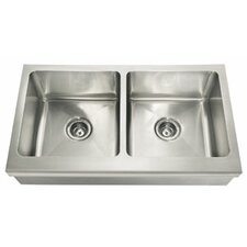 "Manor House 36"" x 20.88"" Double Bowl Apron Front Kitchen Sink"