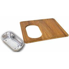 Wood Cutting Board with Steel Colander in Teak