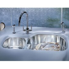 "Prestige 36.13"" x 16.13 - 21.25"" Left Hand Double Bowl Kitchen Sink"