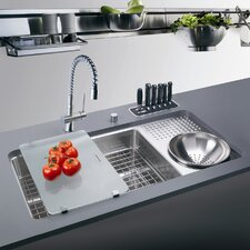 "34.06"" x 17.75"" Culinary Work Center Kitchen Sink with Drain Board"