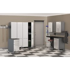 Storage 8-Piece 14' Deluxe Storage System with Workstation in Starfire Pearl