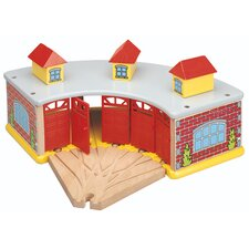 Wooden Tracks Round House with 5 Way Switch Track