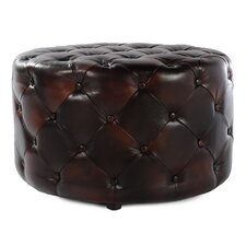 <strong>Lazzaro Leather</strong> Round Drum Tufted Cocktail Ottoman